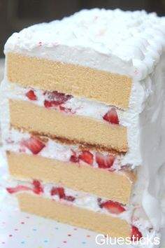 Elegant Strawberry Layered Pound Cake made with frozen Sara Lee Pound Cake. Love semi-homemade tips like this. Perfect cake for summer because it doesn't heat up the house!