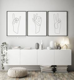 Printable Hand Gesture Illustration Set of 3, Continuous Line Print, Minimalist Peace Poster, Ok Hands Lines Drawing, Rock Wall Art Gallery. INSTANT DOWNLOAD This listing is for a DIGITAL FILE of this artwork. No physical item will be sent. You can print the file at home, at a local