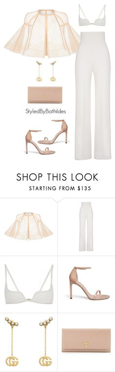 """""""All white party"""" by styledbybathildes ❤ liked on Polyvore featuring Alex Perry, Yves Saint Laurent, Vera Wang, Stuart Weitzman, Gucci and Prada"""
