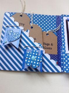 Flip Book snail mail idea tuck pockets with tags and handmade banner paper clips.