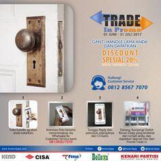 Bosan Dengan Handle Pintu Lama Anda ??? Atau Handle Pintu Rumah Anda Rusak ???  Perbaharui Handle Pintu Rumah Anda Bersama KENARI DJAJA  Tukarkan Handle Pintu Lama Anda Dengan Yang Baru Di Showroom Terdekat Kami  Informasi Hub. :  Ibu Tika  0812 8567 7070 ( WA / Telpon / SMS )  0819 0506 7171 ( Telpon / SMS )  Email : digitalmarketing@kenaridjaja.co.id  [ K E N A R I D J A J A ]  PELOPOR PERLENGKAPAN PINTU DAN JENDELA SEJAK TAHUN 1965  SHOWROOM :  JAKARTA & TANGERANG  ..