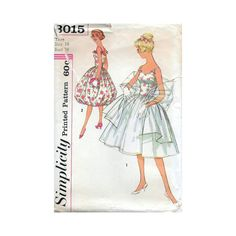 50s Simplicity sewing pattern 3015, dress sewing pattern, bust 34 inches, bell skirt by Tigrisa on Etsy https://www.etsy.com/uk/listing/546538875/50s-simplicity-sewing-pattern-3015-dress