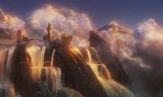 Tower over waterfalls by Kamikaye on DeviantArt