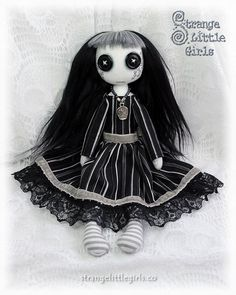 Button-eyed Gothic cloth art doll Maria Gorecki by Strange Little Girls