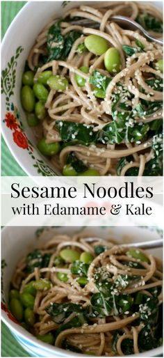 Sesame Noodles with Edamame and Kale Sesame Noodles with Edamame and Kale – a light, but protein packed vegetarian dish your family will love. Related posts: Sesame Noodles with Edamame Sesame Noodles with Kale and Mushrooms Vegetarian Dish, Vegetarian Recipes, Healthy Recipes, Healthy Meals, Asian Recipes, Whole Food Recipes, Cooking Recipes, Kid Recipes, Edamame
