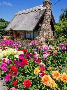 Located in Carmel-by-the-Sea, Cal-  ifornia -- a haven for Storybook  Style cottages -- they appear to   be quite authentic in design. The example pictured at right includes a thatch roof and an English cottage garden.