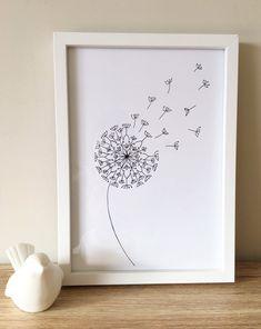 Dandelion mandala print A4 wall art print home decor Black   Etsy