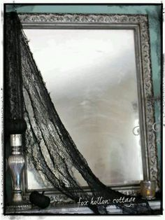 How to make a spooky Halloween mirror with just hairspray and baby powder.