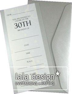 Cream flourish 30th birthday invitation