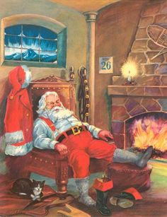 VINTAGE 1951 SANTA CLAUS PRINT - THE DAY AFTER CHRISTMAS WITH FEET UP BY FIRE #Vintage