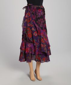 Look at this #zulilyfind! Purple Floral Ruffle Wrap Skirt by The OM Company #zulilyfinds