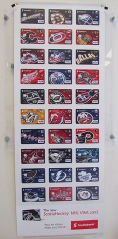 Poster of credit cards featuring all the NHL team logos