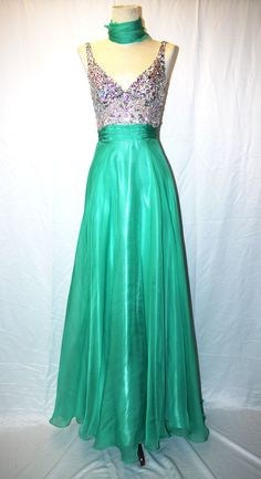 Peach or Green Sequined Ballroom Dress  colors are gorgeous!