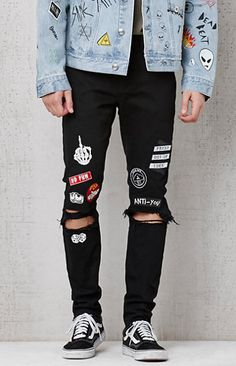"Cop a fresh, punk-inspired pair of jeans provided by PacSun. The Skinniest Patches Destroyed Stretch Jeans have a sleek black wash, a traditional 5-pocket design, destroyed detailing at the knees, and varying patches throughout the front.     FIT   	Skinniest fit 	Sits low on waist 	Super snug from hip through thigh 	Tight contour below knee through ankle 	10 3/8"" front rise 	32"" inseam 	12 1/2"" leg opening   FABRICATION + CARE   	Solid black wash 	Custom PacSun hardware 	Slight stretch…"