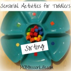 Sensorial Activities for Toddlers - Sorting. Montessori toddler activity