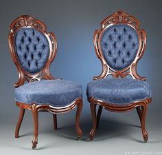 Antique American Victorian Carved And Laminated Rosewood Tufted And Upholstered Parlor Chairs    c.1870   ~    M.S. Rau Antiques