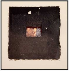 Yuko Kimura, Fusion no. 27, etched copper plate, kimono silk embedded in handmade paper, 7 in x 7 in, 2011