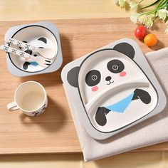 Bowls & Plates Cups, Dishes & Utensils Adaptable Food Tableware Cartoon Panda Dinnerware Set Anti-hot Training Bowl Spoon Kids