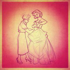 Getting ready for the party. Dress illustration, drawing, sketch / Prepararsi per la festa. Vestito, illustrazione, disegno, bozzetto - by Rob Jacobs