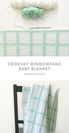 Crochet For Babies Free Pattern - Crochet Windowpane Baby Blanket Crochet Afghans, Crochet Baby Blanket Beginner, Crochet Pillow, Crochet Stitches Patterns, Baby Patterns, Crochet Blankets, Beginner Crochet, Crochet Bebe, Crochet Baby Booties