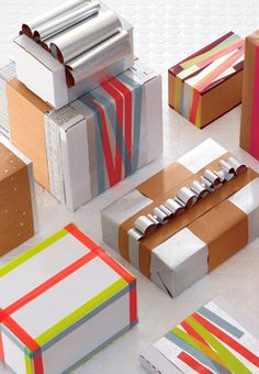More great simple and modern gift wrapping inspiration! This time it's from CB2 and Bonnie Cauble. More here.