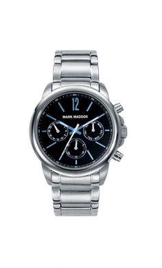 Colección Aviator Look - HM7002-55. Reloj de caballero multifunción. Esfera negra y brazalete silver. Impermeable 30 metros (3 ATM). PVP: 65€