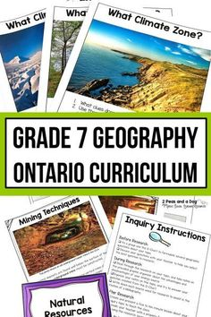Grade 7 Geography Bundle Ontario Curriculum - 2 Peas and a Dog Geography Lesson Plans, History Lesson Plans, Geography Activities, Physical Geography, Middle School Reading, Middle School English, Ontario Curriculum, Interactive Student Notebooks, Reading Themes