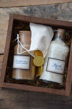 3 gifts of Christmas. article has links for how to make frankincense sugar scrub and myrrh bath salts