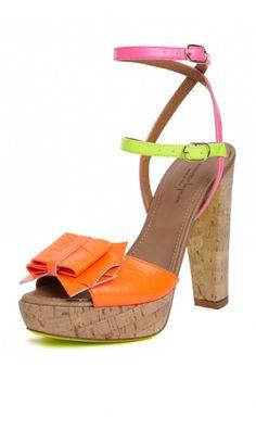 Great color-blocked cork sandal for spring by Nanette Lepore