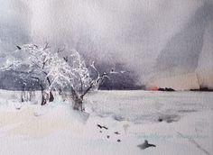 #winter #sea #landscape #tree #ice #snow #watercolour #akvarell #aquarelle #akvarelli
