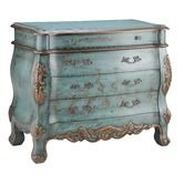 I would use this as a bed-side table.  Found it at Wayfair - Painted Treasures 4 Drawer Bombe' Chest