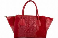 Designer Leather Handbags Etasico Lana Trapezoid Croco Alligator Animal Print Red Bags - Handmade in Italy with 12 months limited warranty.  #crocohandbags #crocobags #trapezoidbags #trapezoidhandbags #designerbags #designerhandbags #italianleatherbags #italianleatherhandbags #etasico #bagmadness #2014fashion #2014trends #leatherbagsforwomen #leatherhandbagsforwomen #redhandbags