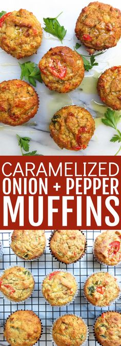 Delicious Caramelized Onion   Pepper Muffins which are an amazing addition to any bread basket! These savory muffins are low carb, paleo, and gluten free! thetoastedpinenut.com