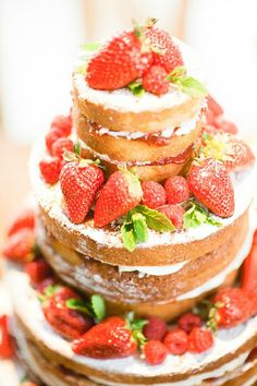 wedding cake with vanilla bean frosting, strawberry preserves, and fresh strawberries  ----another good idea for my lack of love for cake... bleh