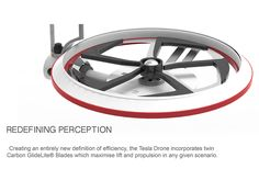The Tesla Drone is unique reinterpretation of drone ingenuity. The design is comprised of two independent propellers that can be manipulated into both vertical and horizontal