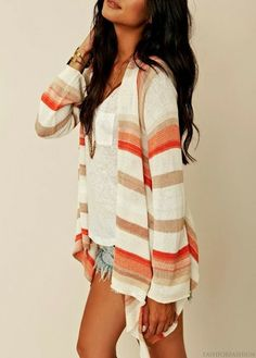 Adorable cardigan, white blouse and miniskirt