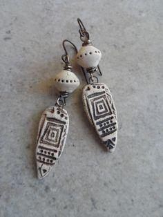 Written in Stone ... Natural Ceramic and Brass Wire-Wrapped Rustic, Boho, Earthy, Primitive, Dagger, Heiroglyph Earrings by juliethelen on Etsy www.etsy.com/...