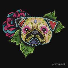 Pug in Fawn - Day of the Dead Sugar Skull Dog Art Print by Pretty In Ink - X-Small Sugar Skull Tattoos, Sugar Skull Art, Sugar Skulls, Dog Skull, Pug Tattoo, Dog Throw, Throw Pillow, Day Of The Dead Art, Pug Art
