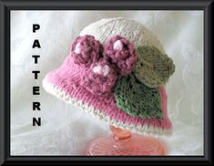 Knitting Pattern for Brimmed Baby Hat in Pink and Ivory with Rosebuds and Leaves