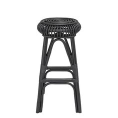 Decorative accent against a counter, this handwoven black barstool will make a comfortable seat for enjoying snack time in the kitchen. The black rattan will also make a beautiful plant stand. Purchase multiples and enjoy family time gathered ar. Rattan Bar Stools, Bar Stool Seats, Black Bar Stools, Bar Chairs, Room Chairs, Velvet Stool, Green Velvet Sofa, Velvet Accent Chair, Leather Stool