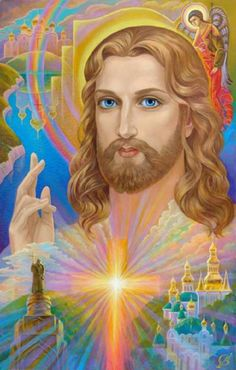 Jesus Christ with cross and heaven's glory prophetic art. Image Jesus, Jesus Christ Images, Jesus Art, God Jesus, Art Prophétique, Artist Art, Ascended Masters, Prophetic Art, Lion Of Judah