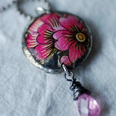 In the Pink Vintage Tin Flower Necklace Reversible Rose