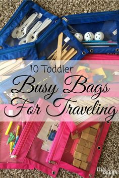 Toddler busy bags for traveling are an essential on our packing list when going anywhere. It keeps our toddler entertained when needed.