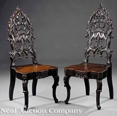 gothic revival furniture | Furniture: Chairs-Hall (02) | Victorian Gothic Revival Walnut