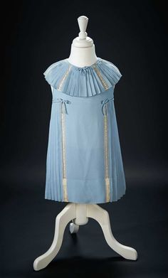 """Blue Silk Crepe Party Dress Worn by Shirley Temple in the 1936 Film """"Stowaway"""" $2000+"""