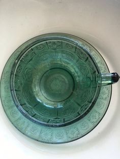 Depression Glass Child's Doric & Pansy Teal Cup Saucer Set Vintage by JennersGemsVintage on Etsy