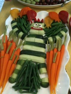 Brobee Veggie Tray: There's a party in my tummy, yummy yummy!  Would the Tot eat more veggies if they were arranged in the shape of Brobee?  Link also has other holiday (Halloween & Christmas) themed and Elmo veggie tray ideas. - Click image to find more Kids Pinterest pins