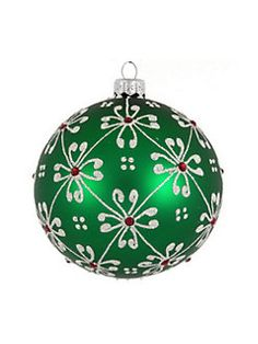Dagmara - Snowflake Embellished Glass Ball Ornament