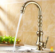 74.84$  Buy now - http://ali4cv.worldwells.pw/go.php?t=32396668196 - new arrival High quality gold finish single lever brass hot and cold kitchen faucet with elegant design