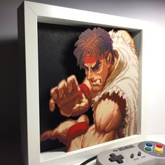 Screen Printing On Wood Diy Products 40 Super Ideas Ryu Street Fighter, Zelda Gifts, Geek Decor, Game Room Design, 3d Wall Art, Gamer Gifts, Wood Print, Shadow Box, Pixel Art